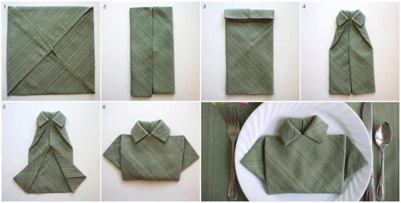 как сложить салфетку в виде рубашки