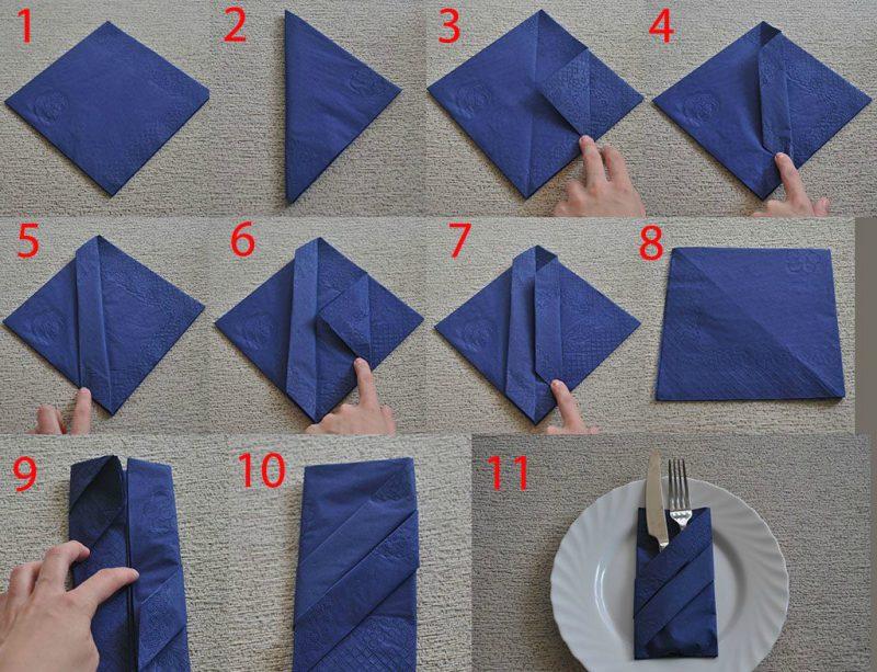 как сложить салфетку в виде французского конверта